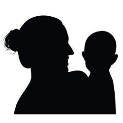 mother child silhouette